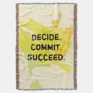 Decide. Commit. Succeed. Motivational Quote Throw Blanket