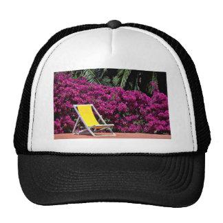 Deck chair  flowers mesh hat
