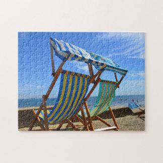 Deck Chairs on a Beach Jigsaw Puzzle