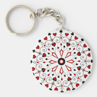 Deck of cards Card Suits Basic Round Button Keychain