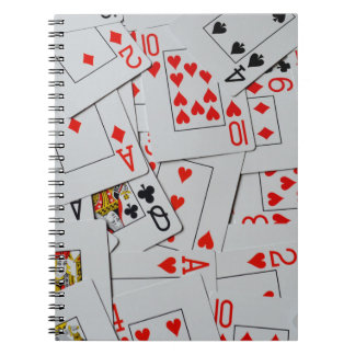 Deck Of Scattered Playing Cards Pattern, Spiral Notebook