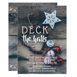 Deck the Halls Christmas Tree Trimming Party Card