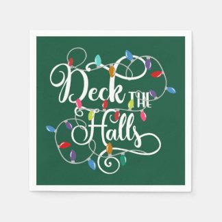 deck the halls holiday lights Christmas Paper Napkin