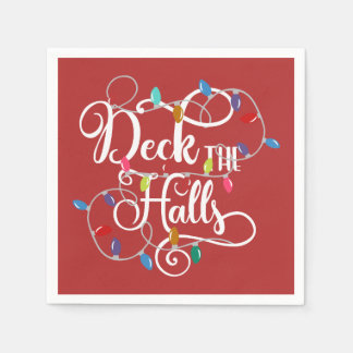 deck the halls holiday lights Christmas Paper Napkin