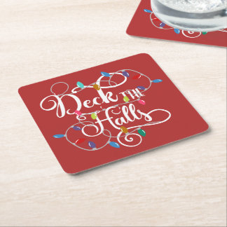 deck the halls holiday lights Christmas Square Paper Coaster