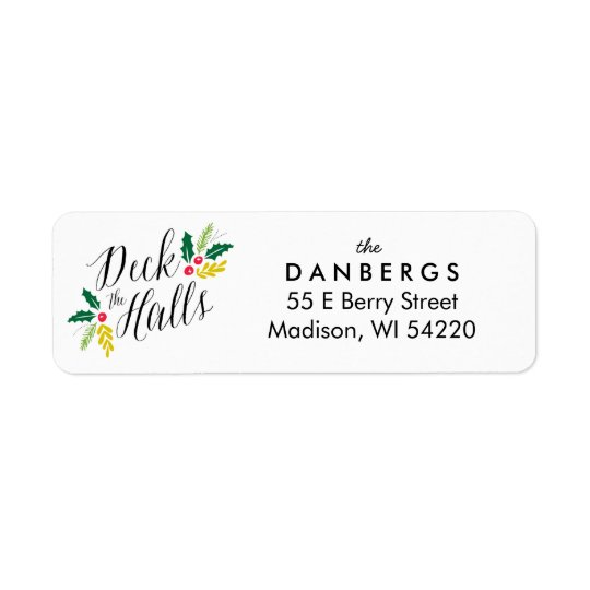 Deck the Halls Holly Berries return address label