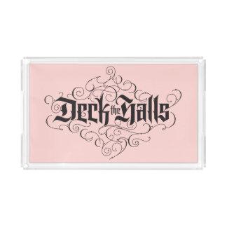 Deck the Halls Modern Christmas Blush Pink Black Acrylic Tray