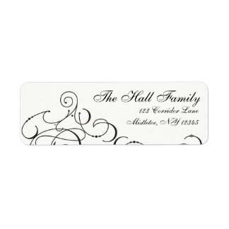 Deck the Halls Modern Lettering Elegant Black Return Address Label