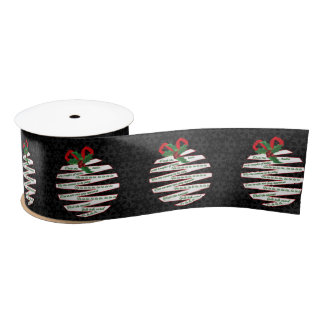 Deck the Halls Origami Ornament in White on Black Satin Ribbon