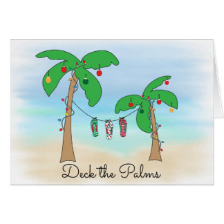 Deck the Palms Tropical Beach Christmas Card
