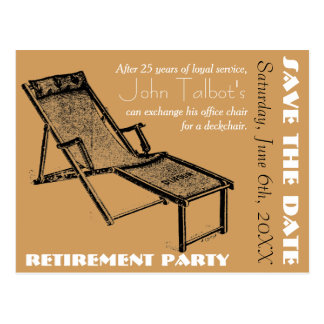 Deckchair Retirement Party Save the Date postcard
