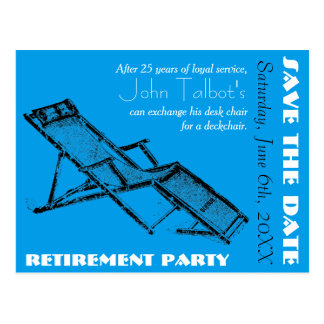Deckchair Retirement Party Save the Date postcard2 Postcard