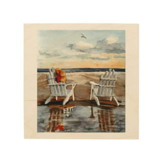 Deckchairs on a Beach at Sunset Wood Print