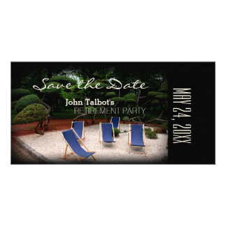 Deckchairs Personalized Retirement Save the Date Photo Greeting Card