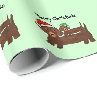 Decked Out Dachshunds Wrapping Paper