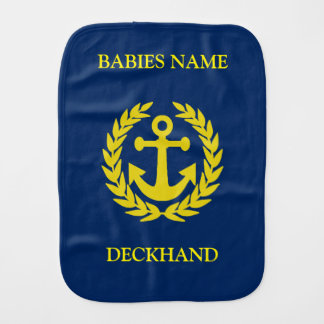 Deckhand with boat anchor baby burp cloth