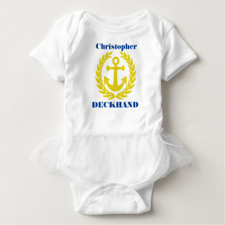 Deckhand with boat name and anchor motif baby bodysuit