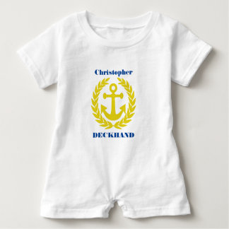 Deckhand with boat name and anchor motif baby romper