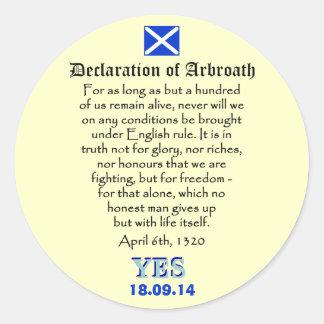 Declaration of Arbroath Scottish Independence Round Sticker