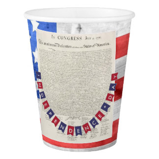 Declaration of Independence July 4 American Flag Paper Cup