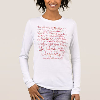Declaration of Independence, Red Print Long Sleeve T-Shirt