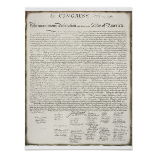 Declaration of Independence with Signatures Poster