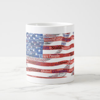 Declaration of Independence Word Cloud on Flag Giant Coffee Mug
