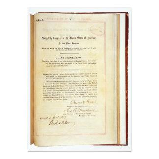 "Declaration of War against Germany April 5 1917 5"" X 7"" Invitation Card"