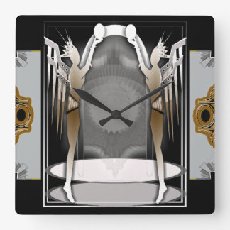 deco angels square wall clock