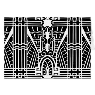 Deco Architectural Pattern, Black and White Card