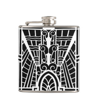 Deco Architectural Pattern, Black and White Hip Flask