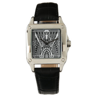 Deco Architectural Pattern, Black and White Wrist Watch