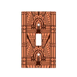 Deco Architectural Pattern, Copper and Brown Light Switch Cover