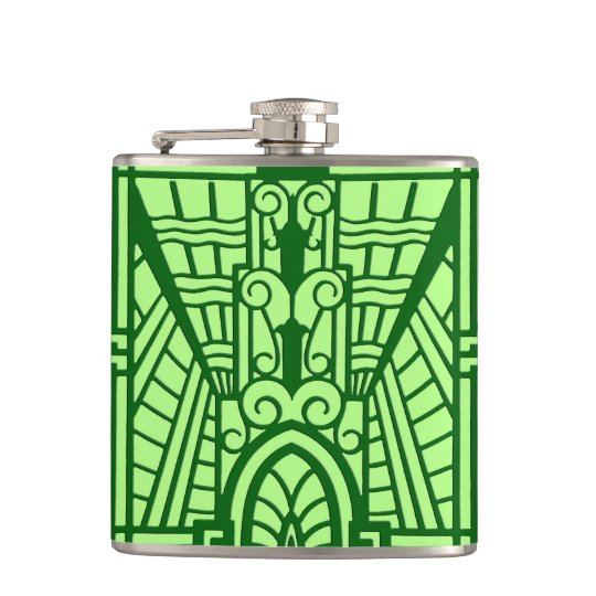 Deco Architectural Pattern, Light Jade Green Hip Flask