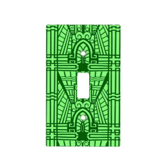 Deco Architectural Pattern, Light Jade Green Light Switch Cover