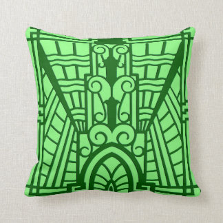 Deco Architectural Pattern, Light Jade Green Throw Pillow