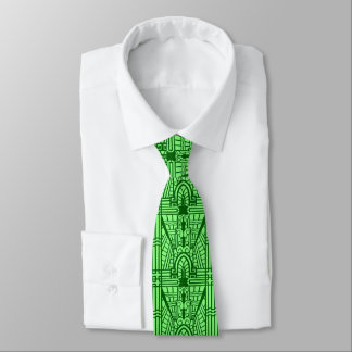 Deco Architectural Pattern, Light Jade Green Tie