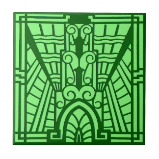 Deco Architectural Pattern, Light Jade Green Tile
