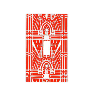 Deco Architectural Pattern, Mandarin Orange Light Switch Cover