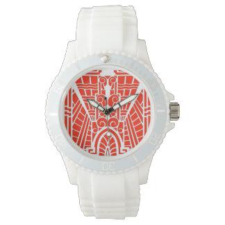 Deco Architectural Pattern, Mandarin Orange Wrist Watch