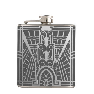 Deco Architectural Pattern, Silver Gray / Grey Hip Flask