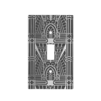 Deco Architectural Pattern, Silver Gray / Grey Light Switch Cover