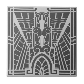 Deco Architectural Pattern, Silver Gray / Grey Tile