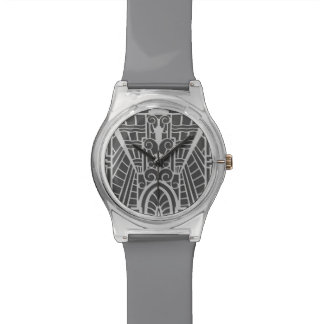 Deco Architectural Pattern, Silver Gray / Grey Watch