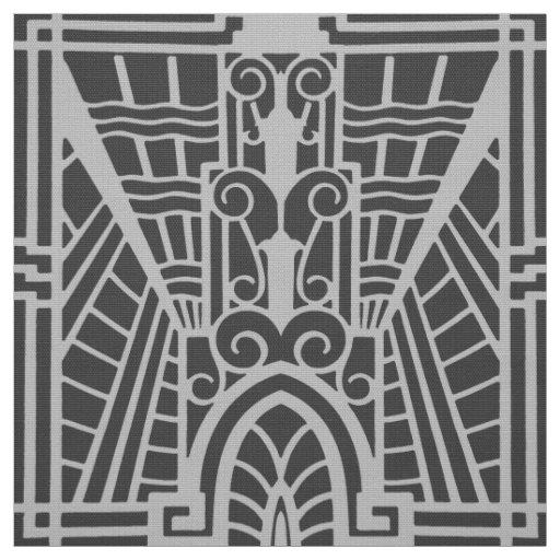 Deco Architectural Pattern, Silver Grey / Grey Fabric