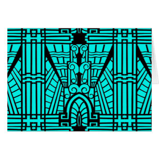 Deco Architectural Pattern, Turquoise and Black Card