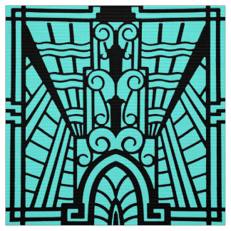 Deco Architectural Pattern, Turquoise and Black Fabric