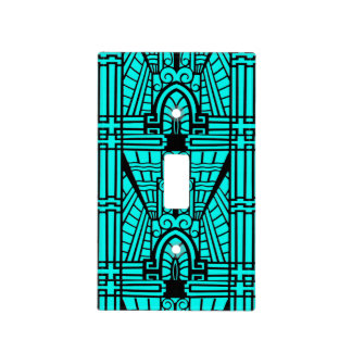 Deco Architectural Pattern, Turquoise and Black Light Switch Cover