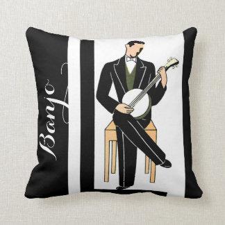 Deco Banjo Player Throw Pillow