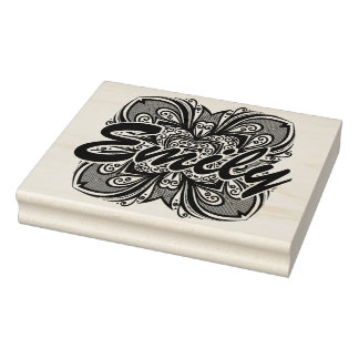 Deco Black Square Inspired Rubber Stamp